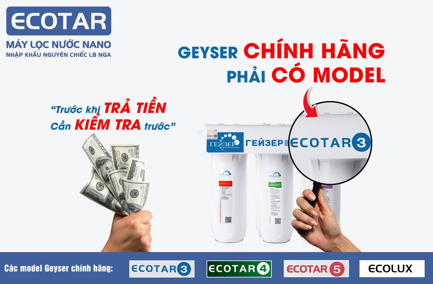 Nhận diện máy lọc nước nano Geyser Ecotar 3