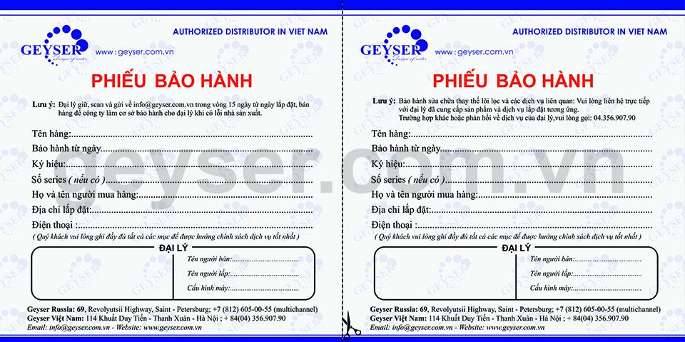Chính sách bảo hành máy lọc nước của geyser Việt Nam