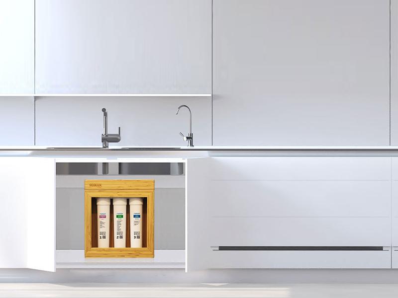 Geyser ecolux gầm tủ bếp