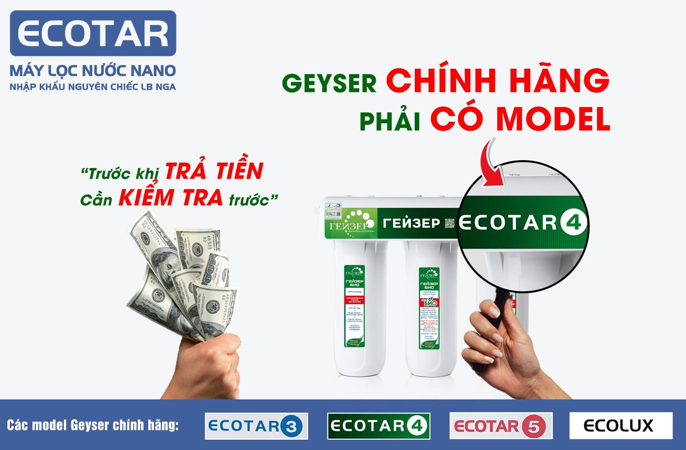 Geyser chính hãng phải có chữ Ecotar 4