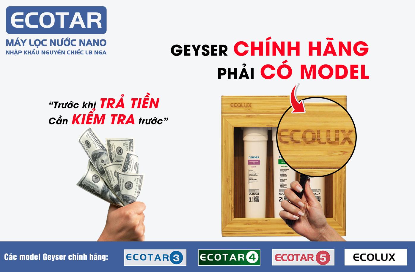 kiểm tra chính hãng máy lọc nước nano Geyser Ecolux