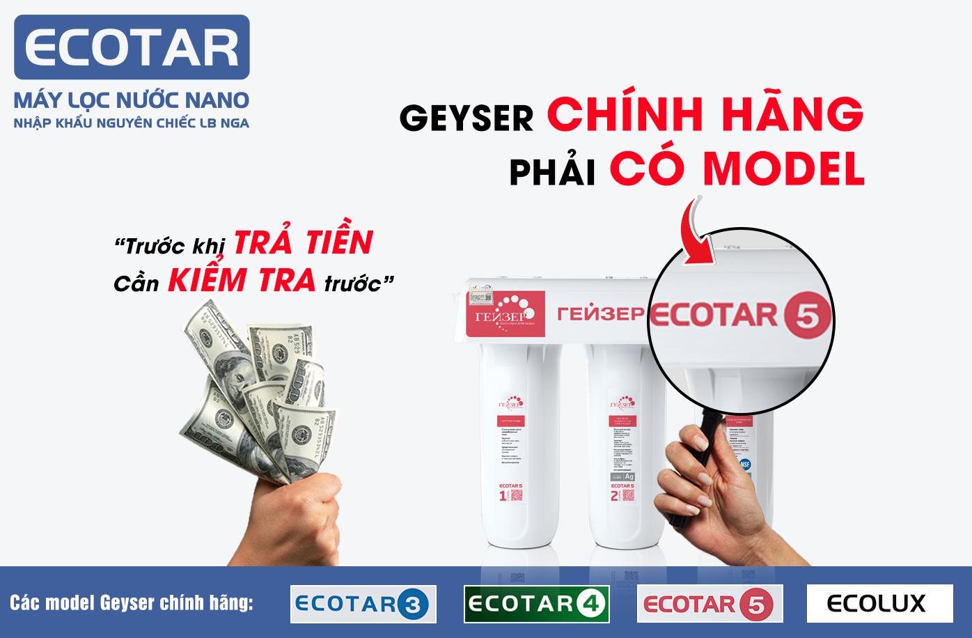 Xác minh Geyser Ecotar 5 chính hãng