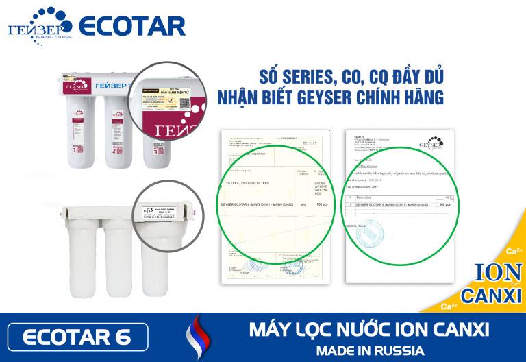 Vị trí mã số CO, CQ xác minh chính hãng trên máy Ion canxi Geyser Ecotar 6