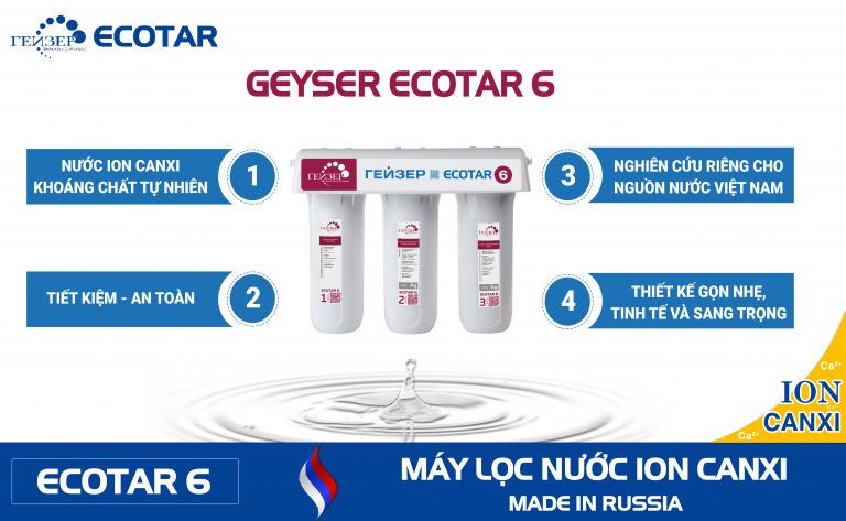 Tính năng nổi trội máy lọc nước Ion canxi Geyser Ecotar 6 LB Nga