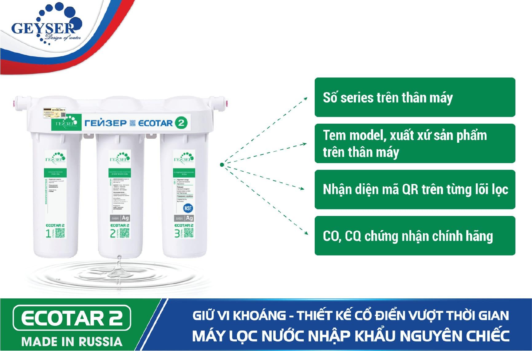 Dấu hiệu nhận biết Geyser Ecotar 2 chính hãng - Geyser Việt Nam