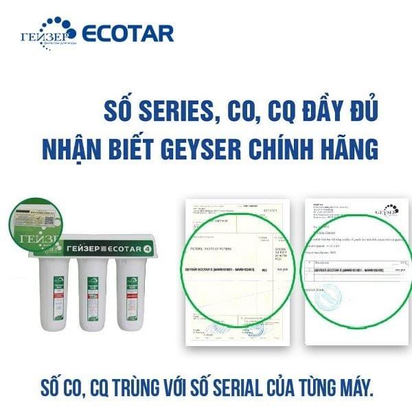 Chứng nhận CO, CQ/ sản phẩm xác thực nguồn gốc xuất xứ Geyser Ecotar 4