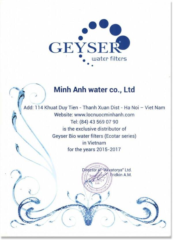 Đại diện phân phối Geyser tại Việt Nam