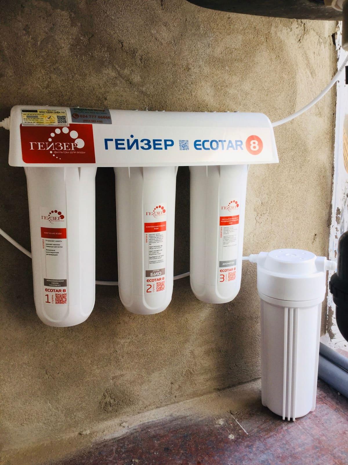 Hình ảnh lắp đặt thực tế máy lọc nước Geyser Ecotar 8