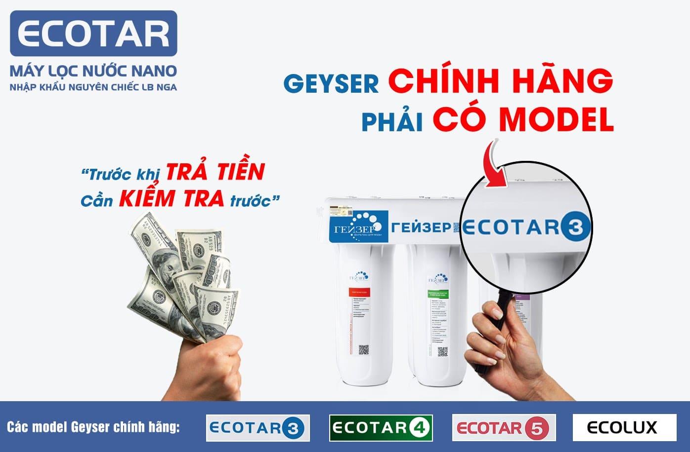 Máy lọc nước nano Geyser Ecotar 3 chính hãng