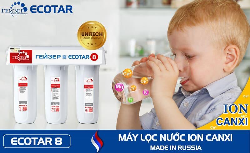 Ecotar 8 tạo ion canxi tốt cho cơ thể - Geyser Việt Nam