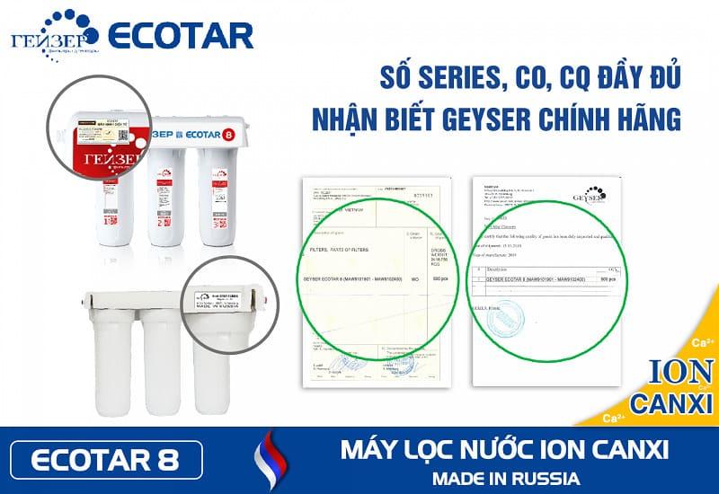 Máy lọc nước Geyser Ecotar 8 có giấy chứng nhận CO, CQ