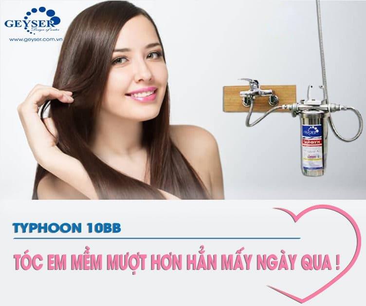 Máy lọc nước Typhoon 10BB cải thiện tóc, giúp mềm mượt hơn