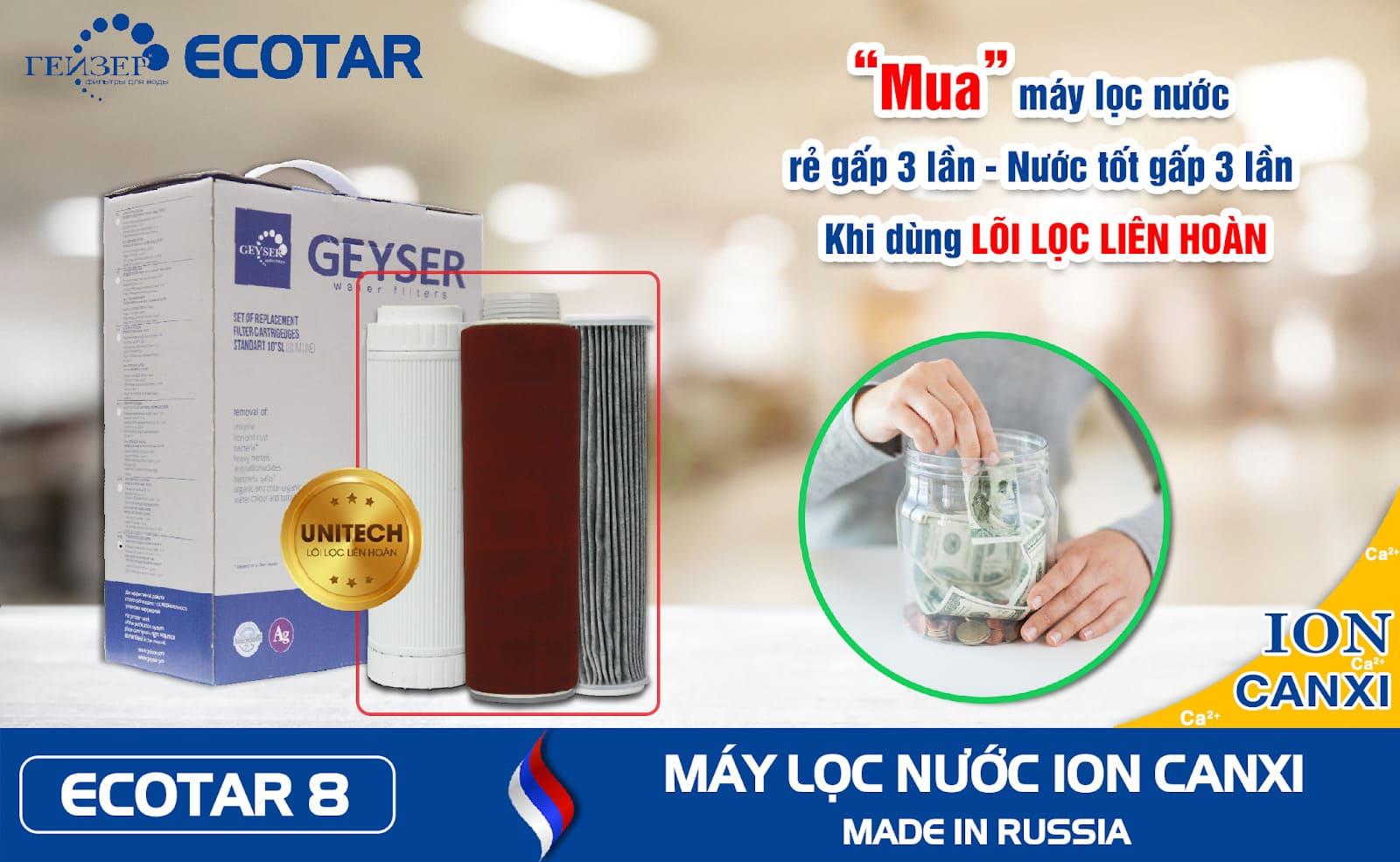 Máy lọc nước thông minh Geyser Ecotar 8 tiết kiệm hơn