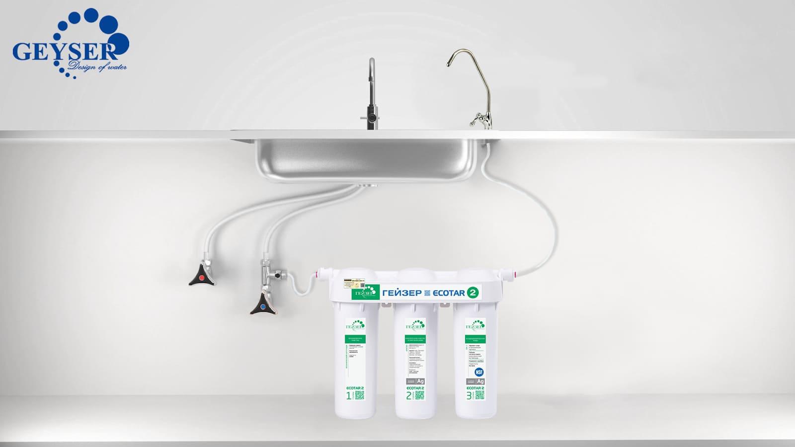 Mô hình lắp đặt vị trí máy lọc nước nano Geyser Ecotar 2
