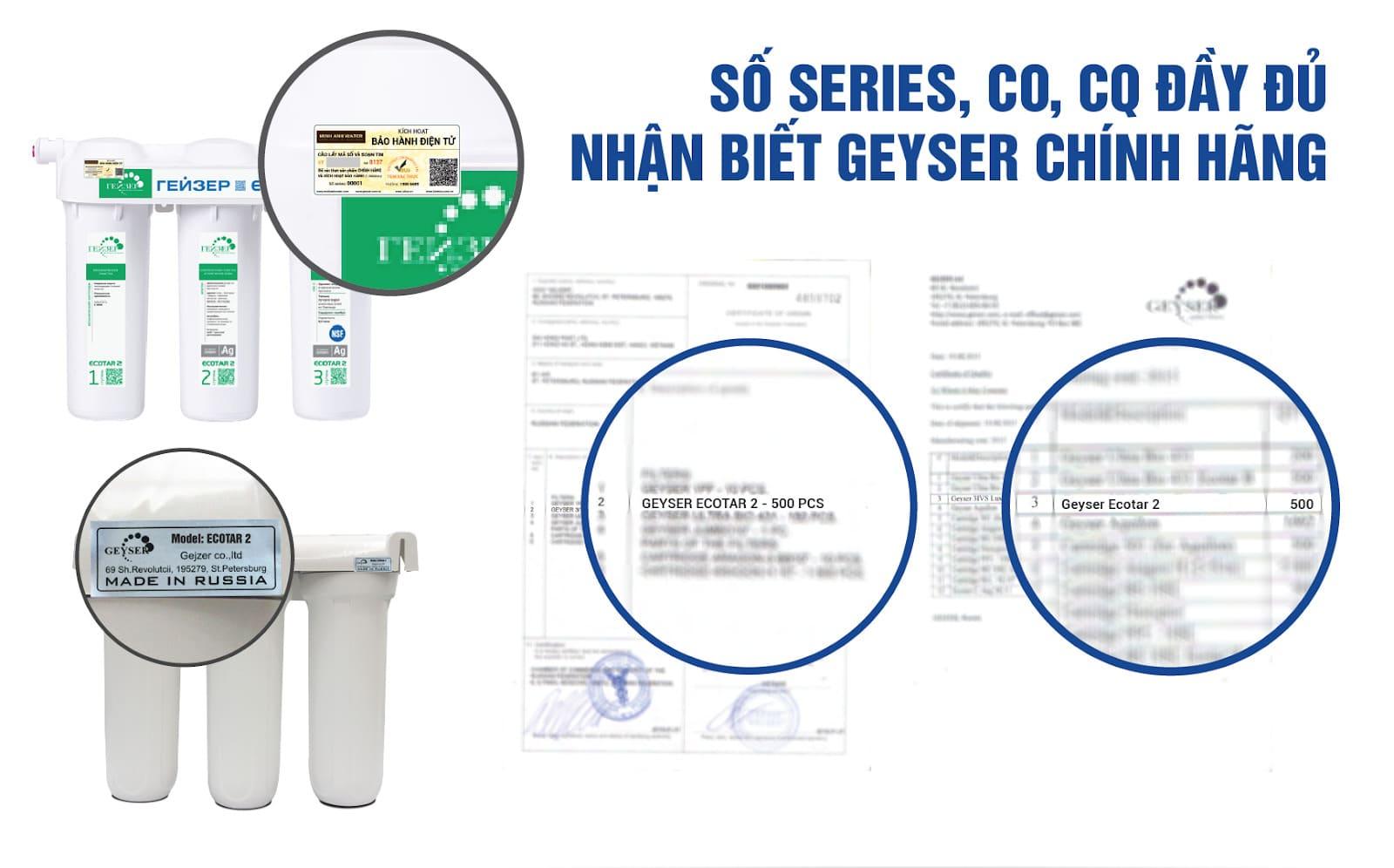 Geyser Ecotar 2 có chứng nhận CO, CQ trên từng sản phẩm