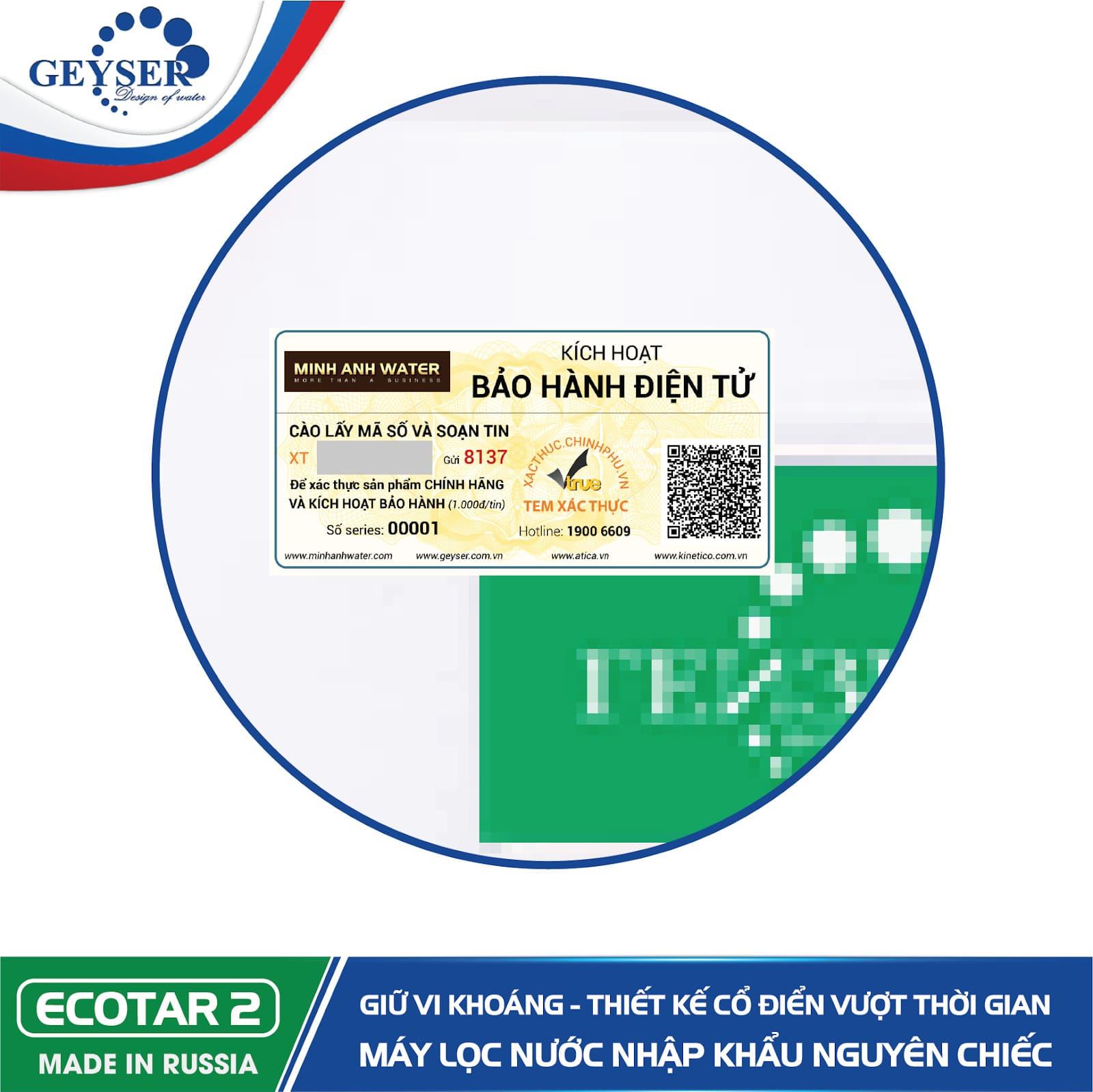 Tem kích hoạt bảo hành điện tử máy Geyser Ecotar 2