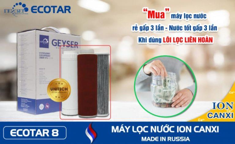 Nhiều lợi ích khi sử dụng loi loc nuoc unitech may loc nuoc ion canxi geyser ecotar 8